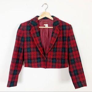 KENZO Paris Vintage Designer Cropped Plaid Blazer